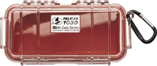 Pelican 1030 Micro Case, Red With Clear Lid