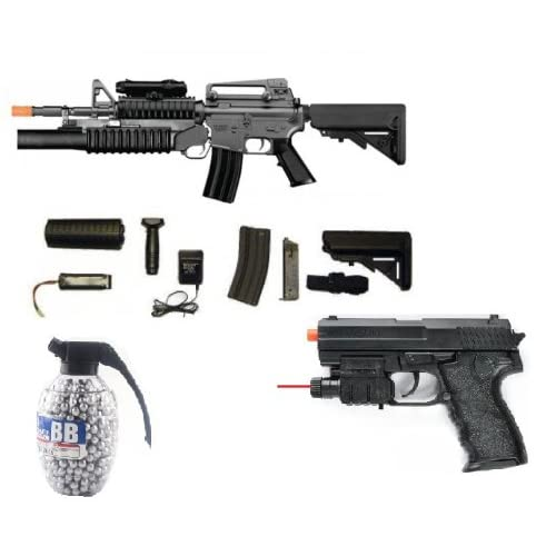 m4 aeg electric airsoft rifle, m203 grenade launcher, 2 stocks, fps 300, extra mag + flashlight, laser, spring pistol 180 fps + 800 count high quality seamless grenade airsoft bbs(Airsoft Gun)