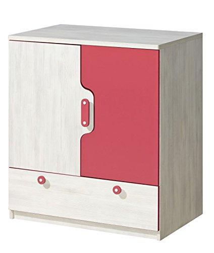 Kinderzimmer - Kommode Justus 06, Farbe: Kiefer Rosa - Abmessungen: 93 x 80 x 53 cm (H x B x T)