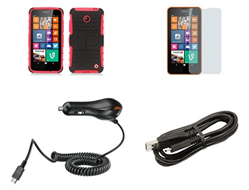 Nokia Lumia 635 (At&T, T-Mobile) / Nokia Lumia 630 (Cricket) - Black And Red Pathfinder Dual Hybrid Armor Case + Atom Led Keychain Light + Screen Protector + Micro Usb Cable + Car Charger