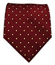 100% Woven Silk Burgundy Polka Dot Tie