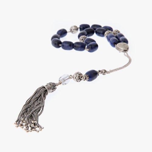 Sodalite & Quartz Gemstones Handmade Worry Beads Sterling Silver 925 - FREE SHIPPING