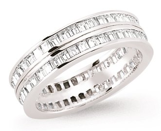 Mbody: Stunning Sterling Silver Rhodium Plated Double Row Wedding Band/ Eternity Ring Channel Set with Princess Shape Cubic Zirconia. Gift Boxed