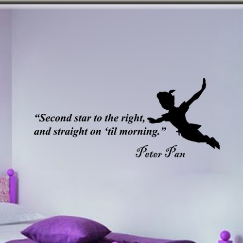 Peter Pan Second Star to the Right Wall Quote Vinyl Wall Art Decal Sticker