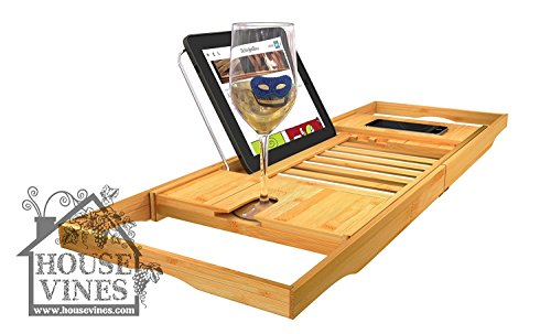Luxury Bathtub Caddy Tray with Extending Sides - Bamboo Wood - Reading Rack Kindle/Book Holder - iPad / iPhone Holder - Wine Glass Holder - Includes