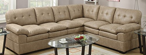 Tyson Cappuccino Fabric Sectional Sofa by Poundex
