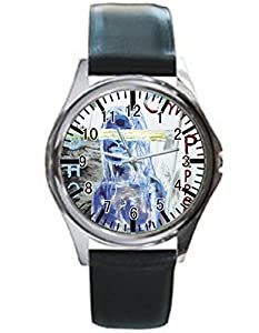 Dude Custom By the Way Men's Black leather watch round black custom watches Perfect Gift for men and women