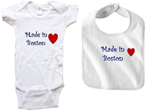 MADE IN BOSTON - BOSTON BABY - 2 Piece Baby-Set - City-series - White Onesie / Baby T-shirt and White Bib - size Medium (12-18M) at Amazon.com