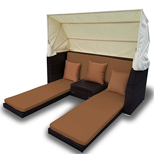 Curacao Canopy Bed and Triple Chaise Combination Set in Brown Wicker with Brown Cushions