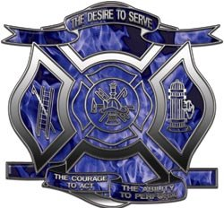 """Desire to Serve Firefighter Decal Inferno Blue 12"""" Reflective"""