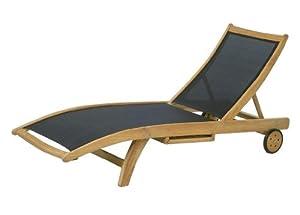 gartenliege ploss fairchild teak textilene schwarz teakholz liege. Black Bedroom Furniture Sets. Home Design Ideas