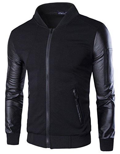 EOZY-Giacca da Uomo Cappotto Baseball Jacket Giubbotto Felpa PU Pelle Manica e Cotone Misti Nero Petto di 114cm