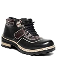 Bigwing Sturdy Black Brown Ankle Length Boots