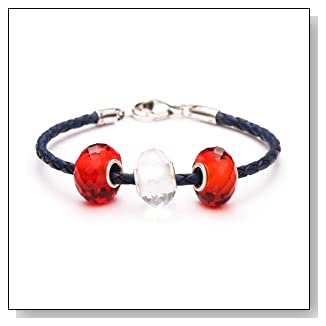 Novobeads Red/White/Blue Sterling Silver Charm Bead Bracelet - Made in USA w imported materials - Fits all major bead bracelets