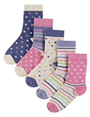 5 Pairs of Cotton Rich Multi Patterned Socks