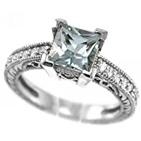 Princess Cut Blue AAA Aquamarine and VS Diamonds Enagement Ring 14k White Gold Antique Style