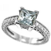 Princess Cut Blue AAA Aquamarine and VS Diamonds Enagement Ring 14k White Gold Antique Style