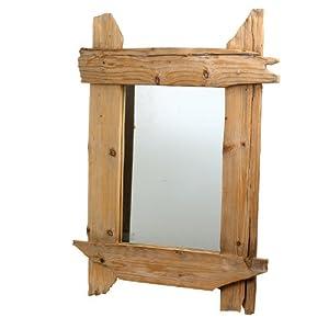Landon tyler rustikaler spiegel aus holz 70 x 80 cm k che haushalt - Rustikaler spiegel ...