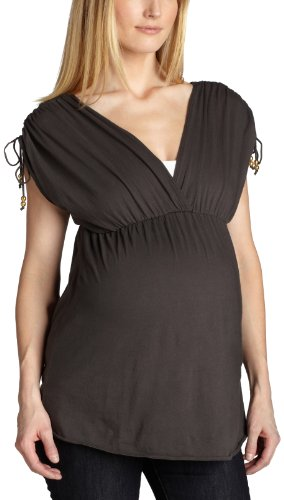 9Seed Women's Maternity Ruched Tie Top,Charcoal,X-Small/Small