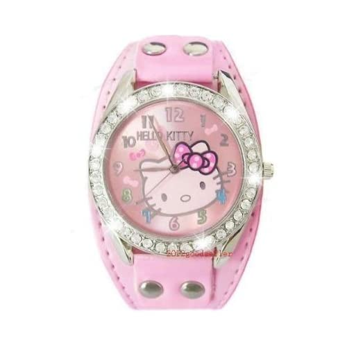 New Hello kitty Crystal Stones Quartz Watch in Pink.