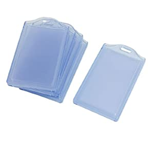 5 Pcs Office Clear Blue Vertical 2 Compartments ID Card Badge Holder