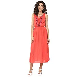 Bhama Couture Coral Embroidered Rayon Crepe Long dress Small