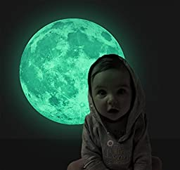 Judek Bedroom Glow in the Dark Full Moon Light Luminous Wall Art Stickers and Stars Removable Decorations. (green)