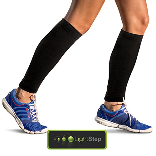 Light Step Calf Compression Sleeves – One Pair. Boost Your Performance, Enhance Comfort and Recovery. True Graduated Pressure 20-30mmHg, Non-slip Bands. Will Help You Raise Your Game and Feel Great At the End of a Hard Day. (Extra-Large)