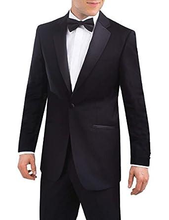Veste de smoking raffinée avec revers crantés 1 Bouton 62 Long Noire