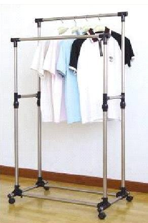 41A9cUbnB9L Premium Heavy Duty Double Rail Adjustable Telescopic Rolling Clothing and Garment Rack