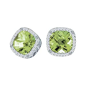 14k White Gold Cushion Cut Peridot And Diamond Earrings