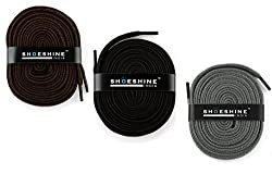 Shoeshine India Athletic Sport Shoelace Black, Brown And Grey Shoe Lace (Set Of 3 Pair)
