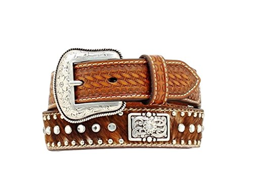 Nocona Boys' Rhinestone Hair-On-Hide Leather Belt Brown 26