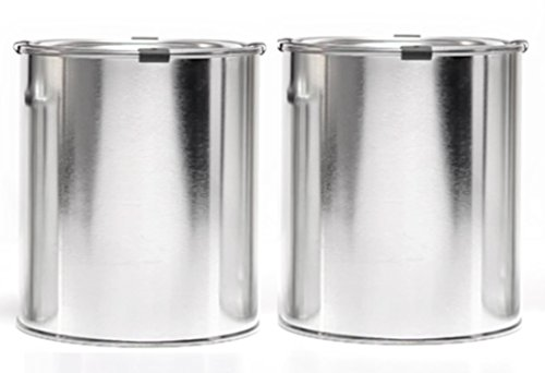 Empty Quart Paint Cans with Lids & Clips (2 Pack) High Quality Empty Paint Storage Cans with tops + Safety clips (Empty Paint Cans Quart compare prices)