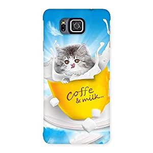 Cute Coffee Kitty Back Case Cover for Galaxy Alpha