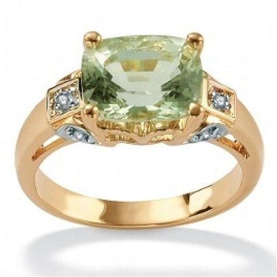 ParisJewelry 3 Carat Green Amethyst and Diamond 18k Gold Ring