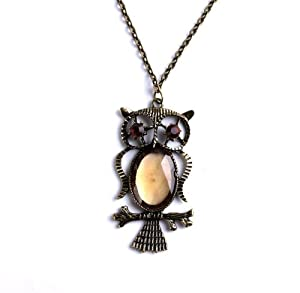 Trendy Bronze Owl with Acrylic Glass Pendant Copper-plated Metal Necklace 1pcs P1261