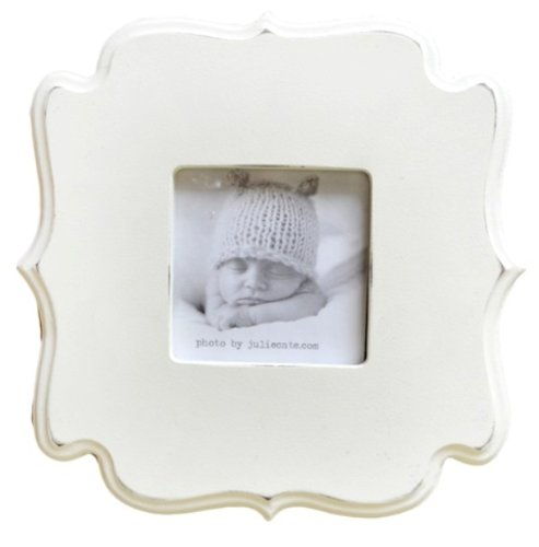 New Arrivals White Sqaure Carved Wall Frame, Cream - 1