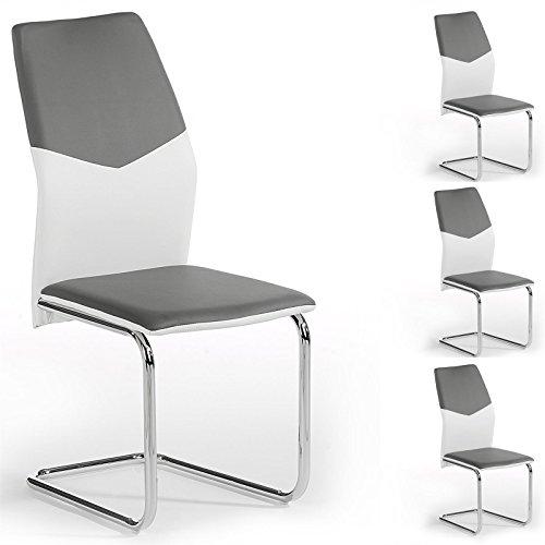4er-Set-Schwingstuhl-Esszimmerstuhl-Freischwinger-LEONA-Lederimitat-in-grauwei-Metall-verchromt
