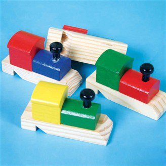 Colorful Wooden Whistle in Train Shape, 12 Pieces / Pack