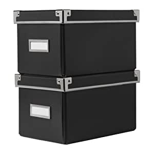 cassette kassett cd box with lid black two piece ikea. Black Bedroom Furniture Sets. Home Design Ideas