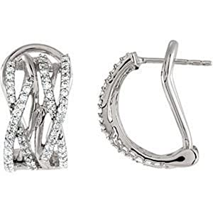IceCarats Designer Jewelry 14K White Gold 3/4 Ctw Diamond Earrings. Pair 3/4 Ct Tw