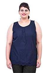 Navy Blue Embroidered Tank Top