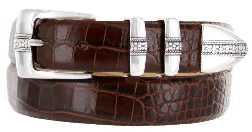 Brandon Italian Calfskin Leather Designer Dress Golf Belt for Men (36, Alligator Brown)