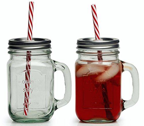Circleware Glass Mason Jar Mugs with Metal Lids, Strong Reusable Straws and Glass Handles, Set of 4, 15 Ounce Each