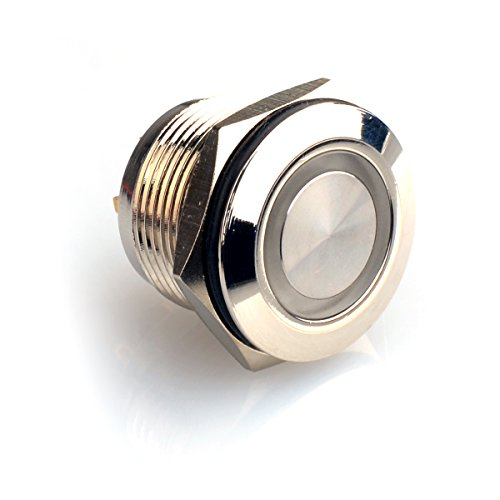 Goldiger Angel Eye Blue Led Light 5A/250V Ac 19Mm Push Button Switch Momentary Stainless Steel Flat Switch 1On