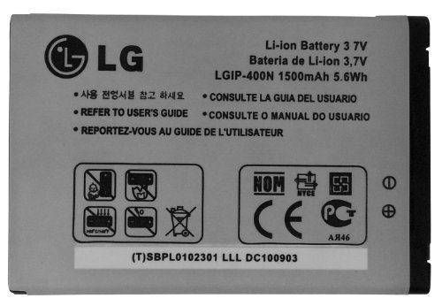 LG LG LG-IP400N 1500mAh Original OEM Battery for LG P509, Optimus C, M MS690, S LS670, T, U US670, V VM670, Phoenix and Thrive - Battery - Non-Retail Packaging - Silver (Battery Lg Optimus V compare prices)