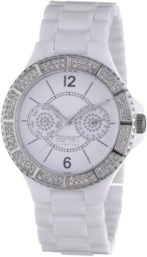 Esprit EL101332F05 - Reloj cronógrafo de cuarzo para mujer con correa de plástico, color blanco