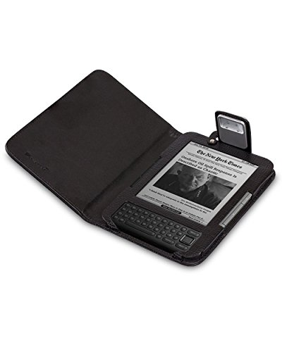 GreatShield Premium Genuine Lighted Leather Flip Case Cover with Built-in LED Light for Amazon Kindle 3G (Fits Kindle Keyboard) - Black (Kindle Keyboard Lighted Cover compare prices)