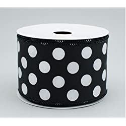 "Polka Dot Wired Edge Ribbon (2.5"", Black White) - 10 Yards"
